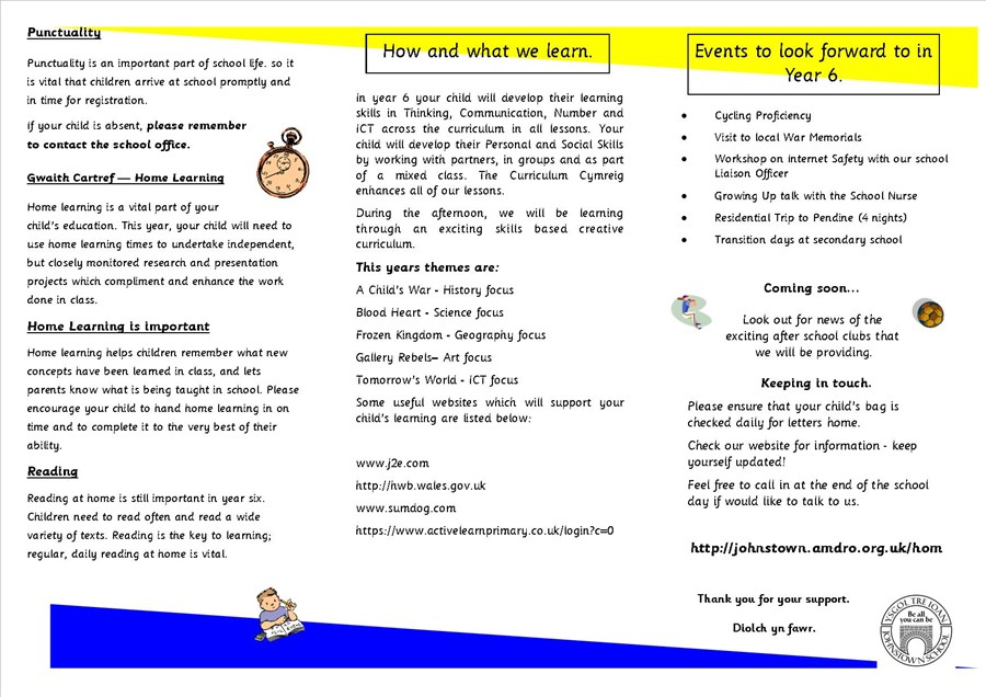 Y6 Welcome Leaflet 2